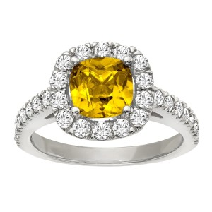 Other 2 1/5 ct Yellow Sapphire & 1ct Diamond Ring
