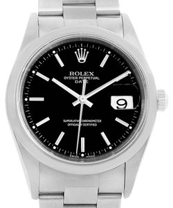 Rolex Rolex Date Black Baton Dial Stainless Steel Automatic Mens Watch 15200