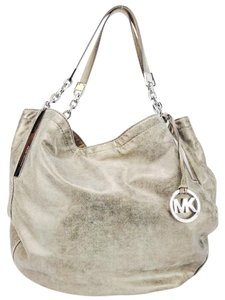 Michael Kors Distressed Leather Chain Link Silver Hardware Hobo Bag