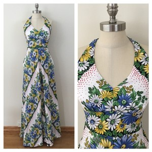 Floral Maxi Dress by Anthropologie Full Length Halter Chevron Summer