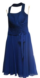 Blue Halter Knee Length Chiffon Dress