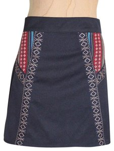 Blue Rain Embroidered Ethnic Mini Pencil Mini Skirt Navy Blue