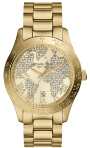 Michael Kors Michael Kors Layton Stainless Steel Pave World Map Watch