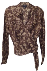 Ann Taylor Linen Silk Wrap Small Like New Top Dark Taupe, Grey, Natural