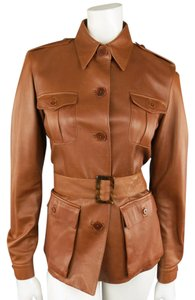 Ralph Lauren Leather Military Belted Epaulets Pleated Brown Leather Jacket