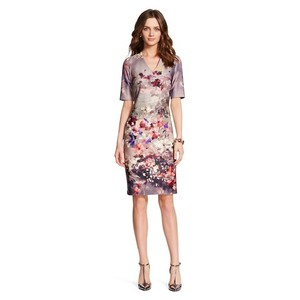 Donna Ricco Floral Sheath V-neck Dress