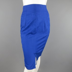 Versace Vintage Gianni Embroidered Pencil Skirt Blue