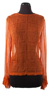 Dries van Noten Silk Sheer Top Orange