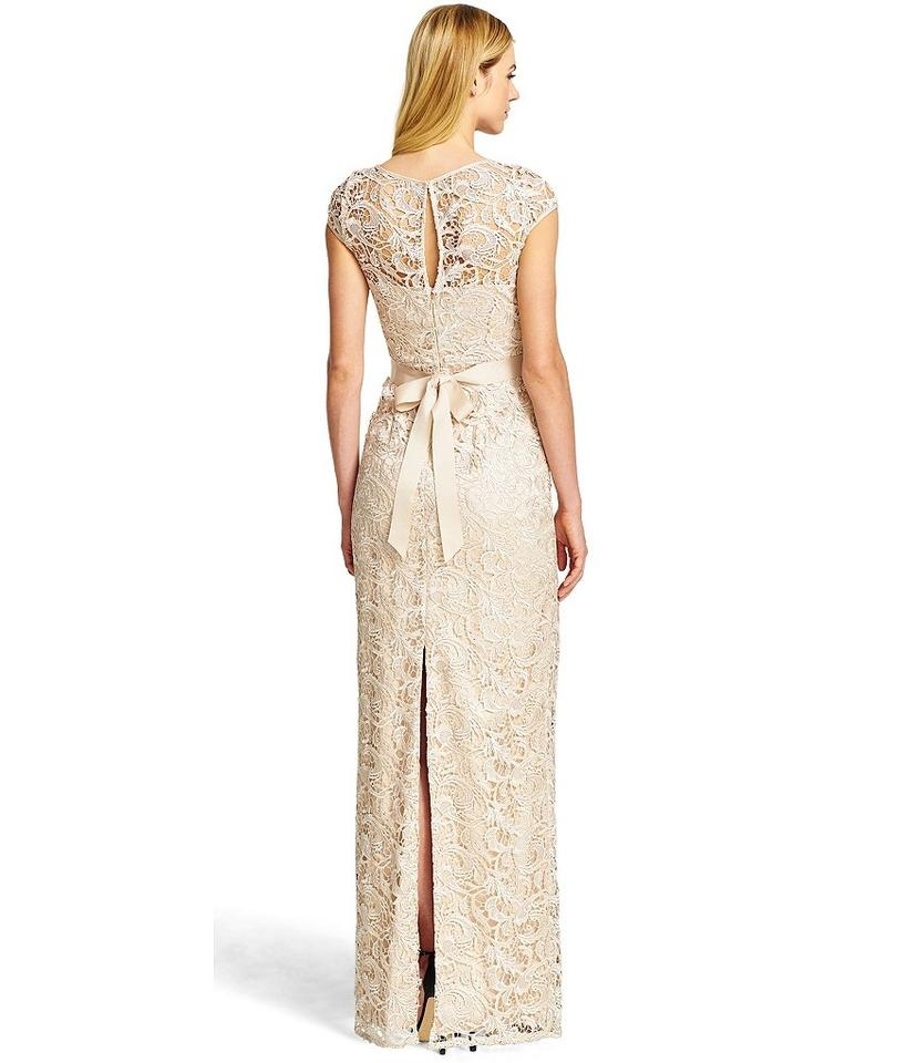 Adrianna Papell Champagne Cap-sleeve Illusion Lace Gown Long Formal ...