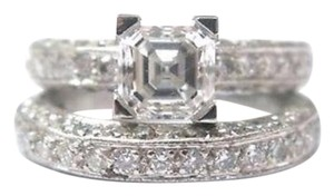 Tiffany & Co. Fine Platinum Asscher Cut Diamond Two Ring Wedding Set 3.39CT GIA