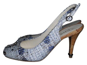 Chanel Slingback Swarovski Crystal Tweed Sling Blue/White/Gold Sandals