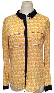 Maeve Button Down Shirt Yellow, Dark Navy, White