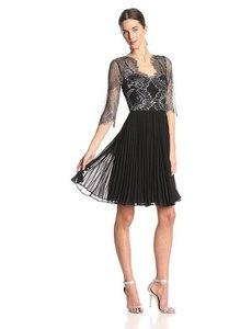 Adrianna Papell Pleated Lace Sheer Chiffon Formal Dress