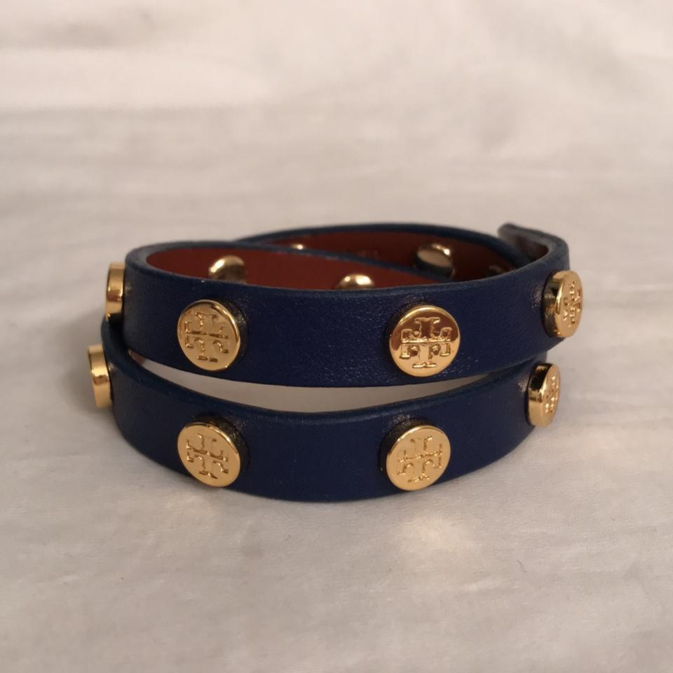 Tory Burch Leather W Logo Stud Double Wrap Bracelet