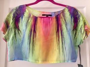 Naven Silk Crop Top Multi- color rainbow
