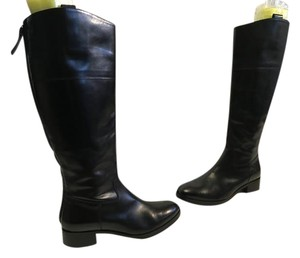 Saks Fifth Avenue Stack Wood Heels Made Italy Black Leather Leather Lining Italian E36.5 Riding Boots