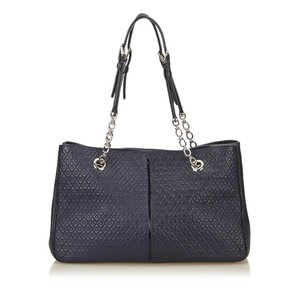 Tod's Embossed Leather Tod Handbag Tod Tote Blue Handbag Shoulder Bag