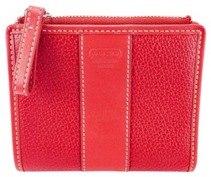 Coach Coach Red Pebbled Leather Bi-Fold Snap Coin Wallet