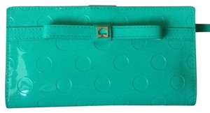 Kate Spade Teal Patent Leather Like & Cream Inside Opens Flat Long Wallet 0102760