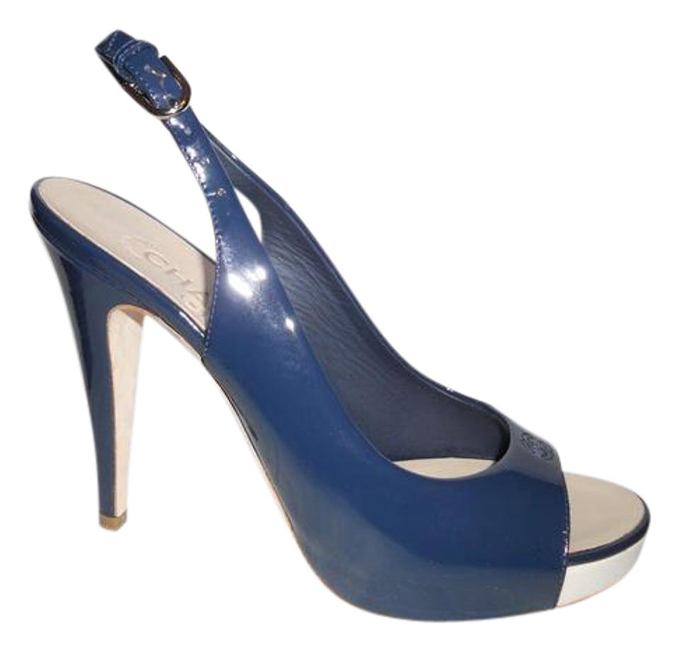 69138b91b36 Chanel Navy Blue Patent Leather Open Toe Platform Slingback Heels Sandals.  Size  US 9 ...