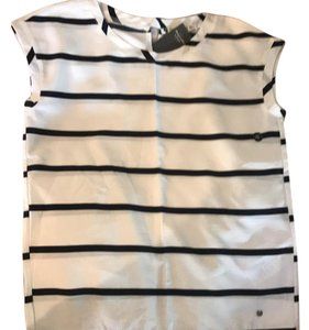 Abercrombie & Fitch Top white with black strips