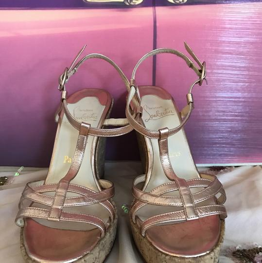 Christian Louboutin Shimmering Pink ( Rose Gold ) Wedges
