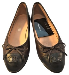 Chanel Classic Brown with Black Cap Toe Flats