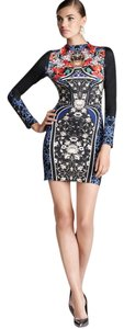 Clover Canyon Print Royal Longsleeve Neoprene Bodycon Dress