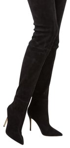 Brian Atwood Thigh High Suede Stiletto Pointed Toe Black Boots