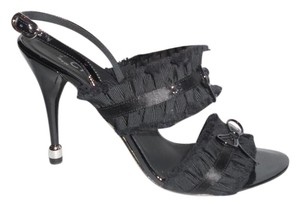 Chanel Slingback Satin Bow Ruffle Black Sandals