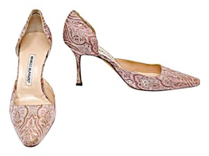 Prada Manolo Blahnik D'orsay Easter Ivory & Mauve Embroidered Pumps