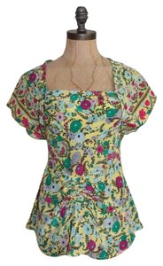 Plenty by Tracy Reese Peplum Silk Floral Shirred Keyhole Top MULTI