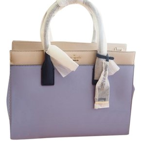 Kate Spade Candace Cameron Street Crosshatched Leather Satchel in crisp linen-oyster