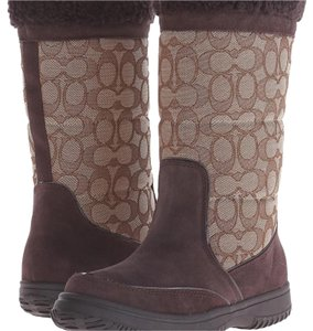 Coach Sherman Signature Suede Logo BROWN Boots