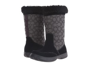 Coach Sherman Signature Suede Logo BLACK Boots