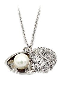 Ocean Fashion Pearl silver shell necklace
