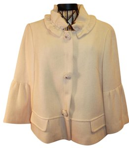 Other Covered Buttons Jeweled Buttons Peplum Ruffled IVORY Blazer