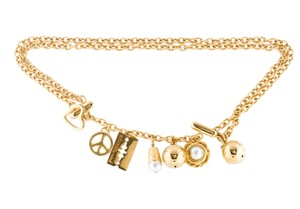 Moschino Moschino gold-tone chainlink letter charms belt S