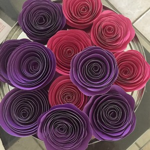 2 Dozen Purple Pink Paper Flowers Other