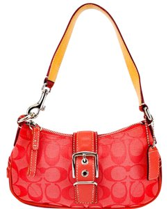 Coach Canvas Signature Suede Buckle Leather Shoulder Bag