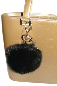 Alexia Crawford Black Real Fur Puff Pom Pom KeyChain Bag Charm