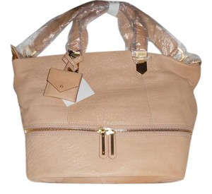 Allibelle Supple Leather Fabulous Details Tote in Beige