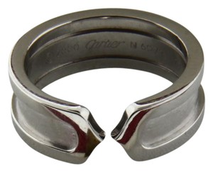 Cartier Cartier C2 Logo Double C ring in 18K White gold size 50, US 5.25