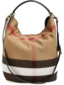 Burberry Check Print Bucket Tote in Brown