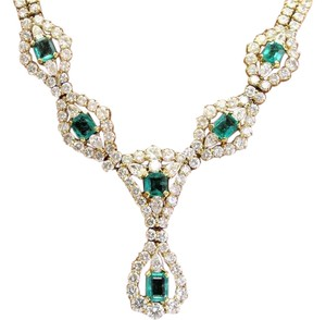 Other 18Kt Gem Colombian Green Emerald & Diamond Yellow Gold Necklace 16