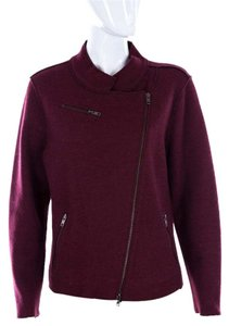 Eileen Fisher Wool Moto Oxblood Zip Motorcycle Jacket