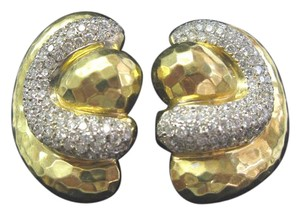 Henry Dunay Designs 18Kt Henry Dunay Hammered Diamond Yellow Gold Earrings 4.50Ct