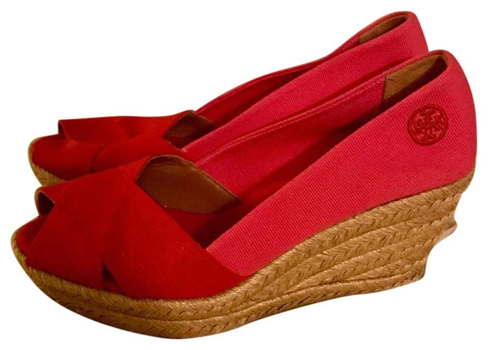 Tory Canvas Burch Pink and Red Canvas Tory Espadrille Wedges 1156ec