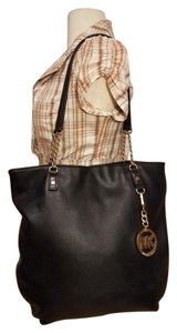 Michael Kors Hobo Mk Leather Tote in BLACK