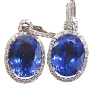 Other 18Kt Gem Vivid Tanzanite Diamond White Gold Drop Earrings 1.25